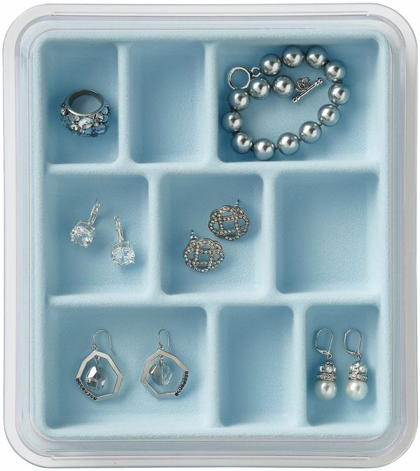 Jewelry Stax - 9 Compartment, Light Blue - free shipping | The Organizing Store