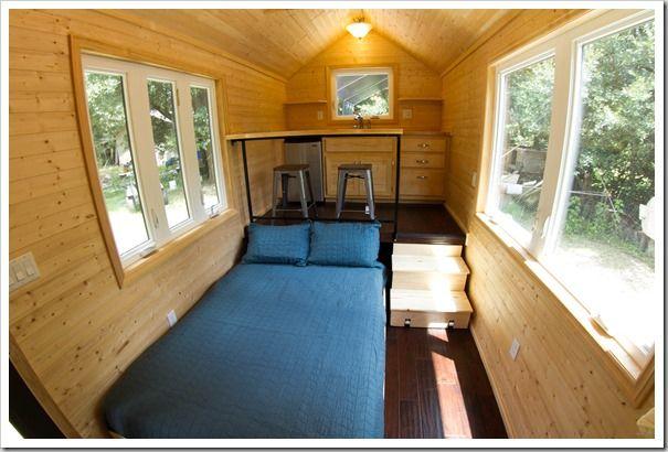 Loft Less Tiny Home Bed Slides Under Kitchen Floor