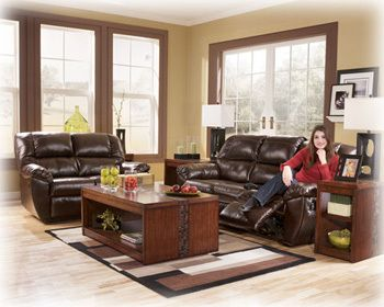 Rouge DuraBlend   Mahogany Sofa And Love Seat Set 530 By Ashley At Wenger  Furniture Los