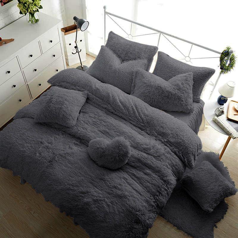 Fleece Teddy Bear Duvet Quilt Cover Warm Cozy Or Fitted Sheet Pillow Cases Ebay Quilted Duvet Bed Duvet Covers Duvet Cover Sets