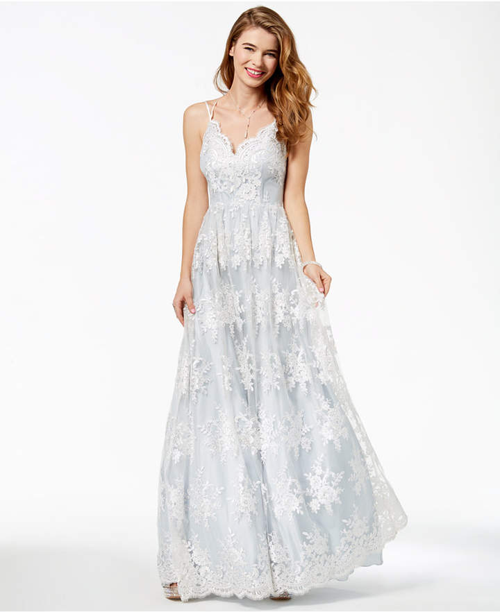 133f829459d7f3 Say Yes to the Prom Juniors  Embroidered-Lace Gown