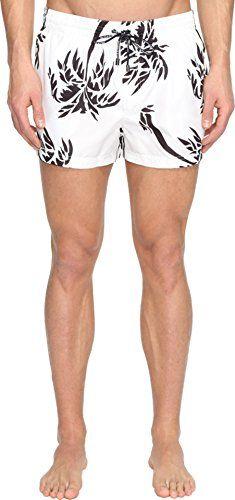Dolce  Gabbana Mens Palm Tree Swim Trunks White Swimsuit Bottoms >>> Visit the image link more details.