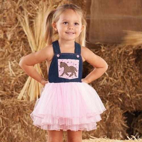 Mud Pie Wild West Baby Girl Or Toddler Cowgirl Overall Dress Horse 1142105