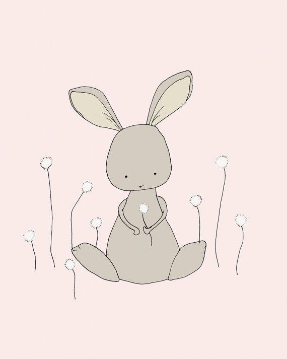Bunny Art Print Woodland Nursery By Sweetmelodydesigns 15 00