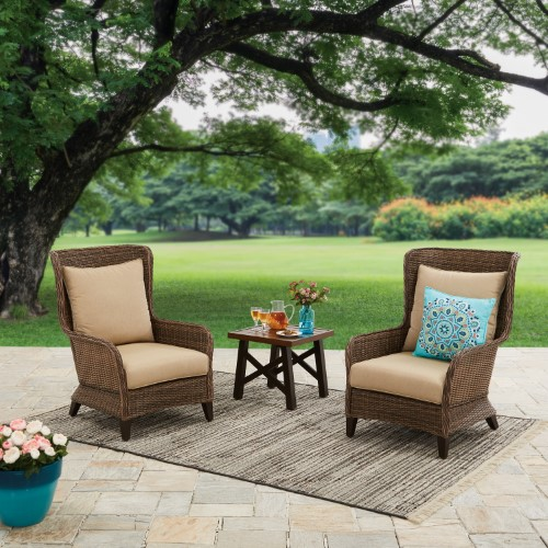 Better Homes Gardens Camrose Farmhouse 3 Piece Outdoor Chat Set With Beige Cushions Beautiful Outdoor Living Spaces Outdoor Living Space Outdoor Living