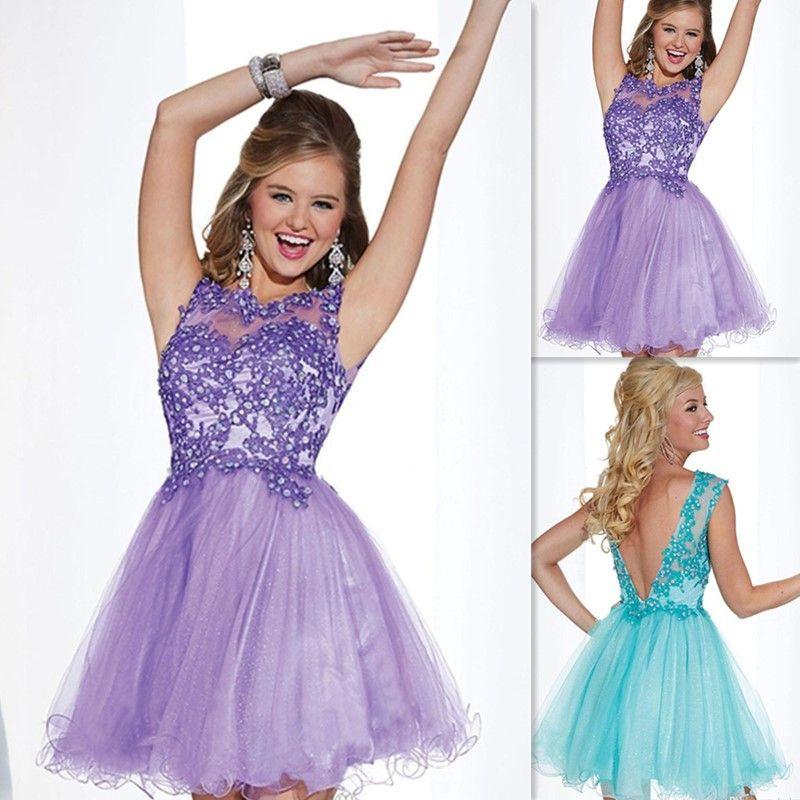 Junior Prom Dresses 2016 Backless Lace Beaded Sheer Neck Short Mini ...