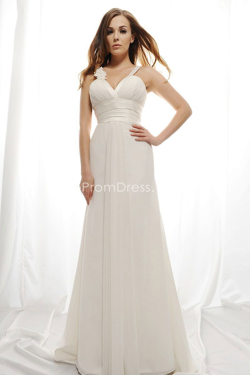 Sexy low vneck empire chiffon aline long wedding dress picture