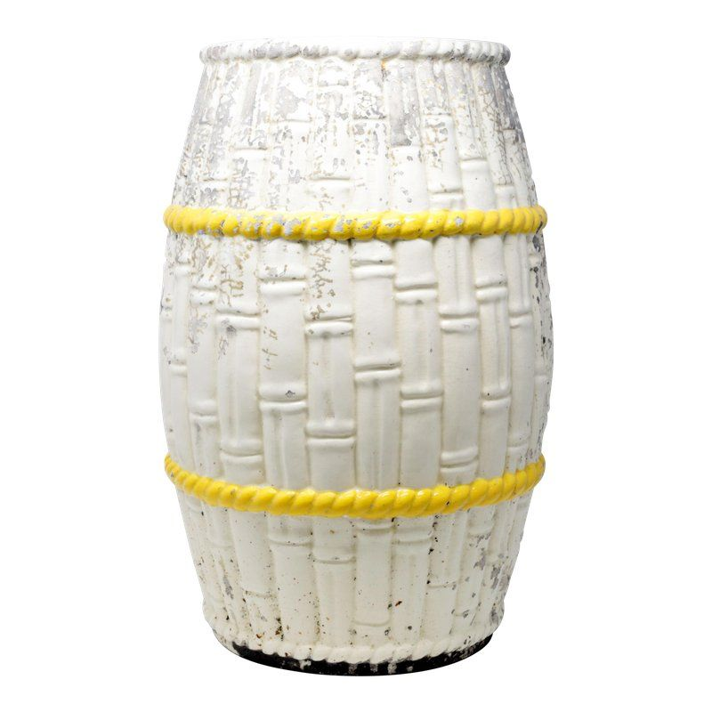 Vintage Spanish Garden Stool With Bamboo And Yellow Rope Design