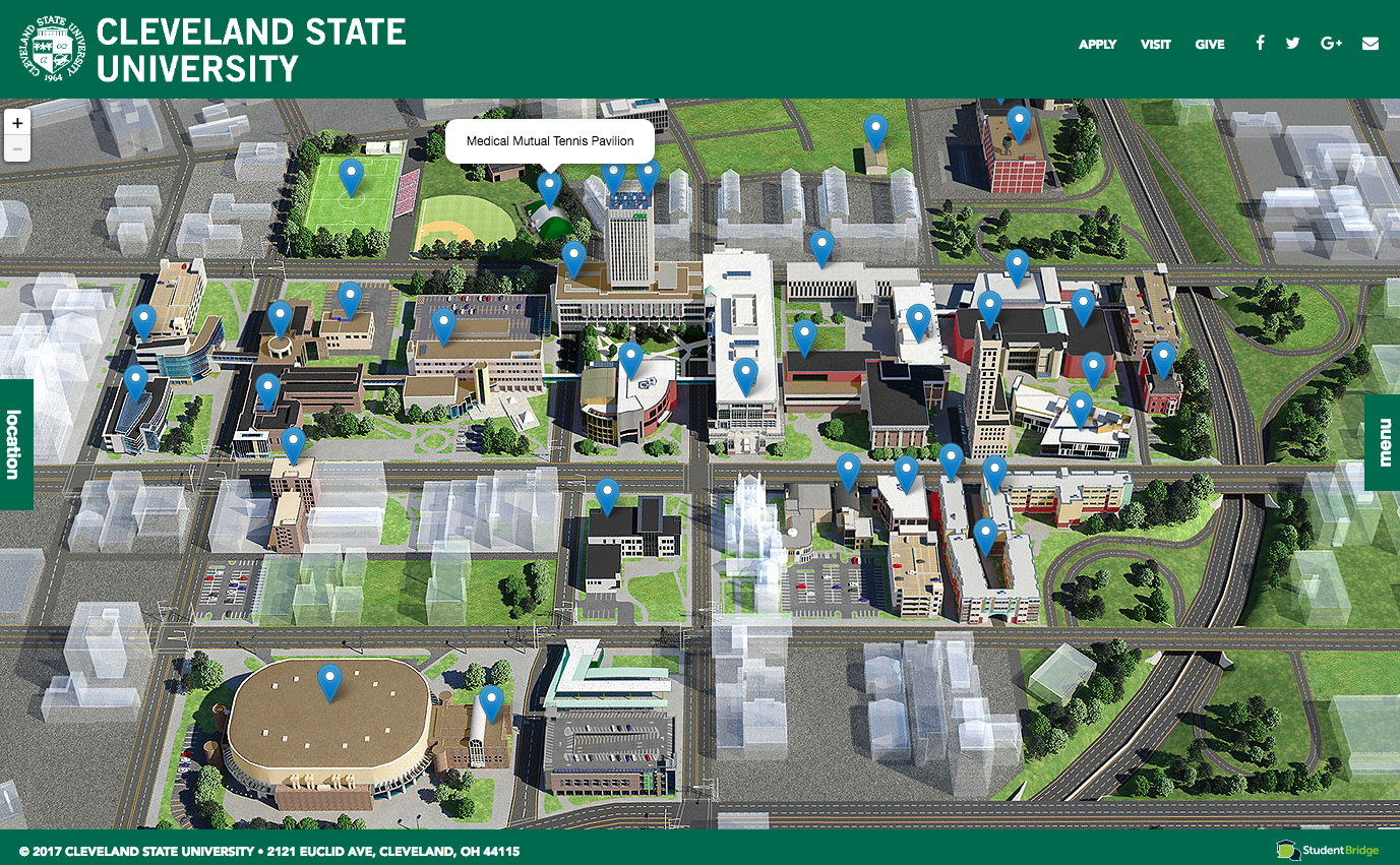 Explore #ClevelandStateUniversity with this campus map