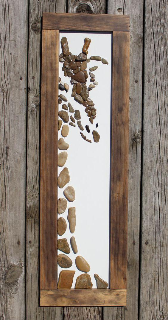 Hallo giraffe von therockartshop auf etsy elefant pinterest steinbilder basteln und kunst - Steinbilder auf leinwand ...