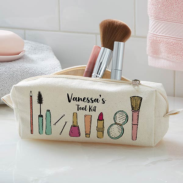 Makeup Brushes Personalized Canvas Cosmetic Case In 2020 Personalized Makeup Bags Custom Makeup Bags Makeup Brush Organization