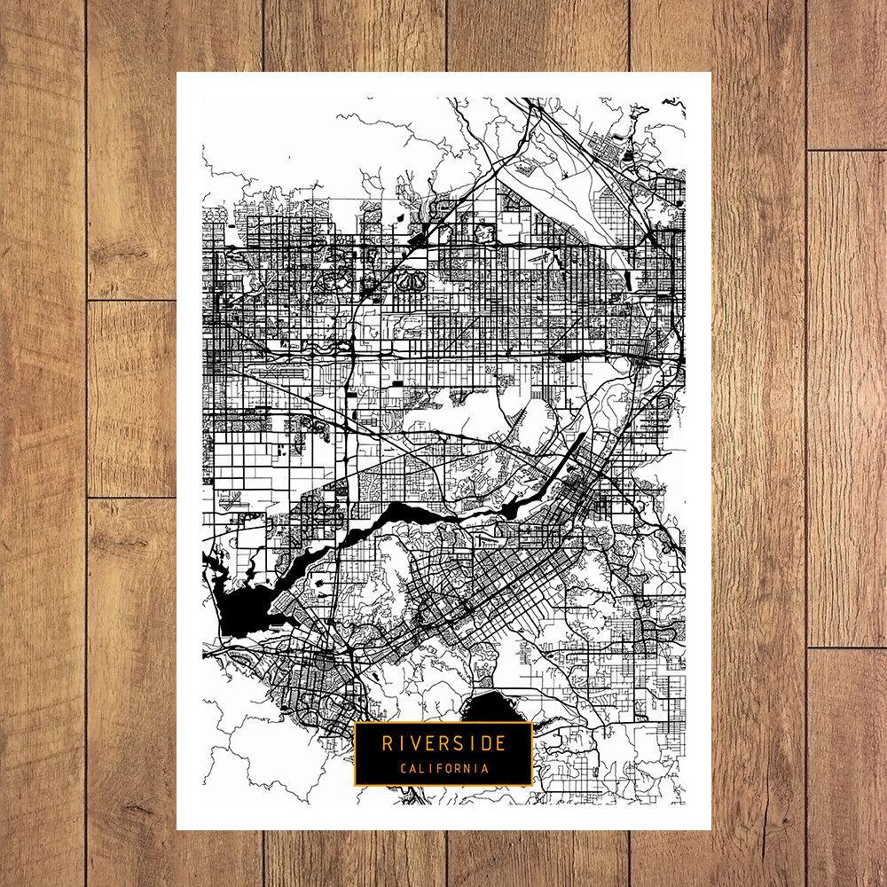 RIVERSIDE California City Map Riverside California Art Print ...