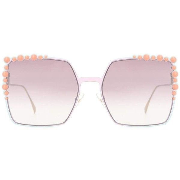31ae07b4684d2 Fendi Embellished Square Sunglasses ( 525) ❤ liked on Polyvore featuring  accessories