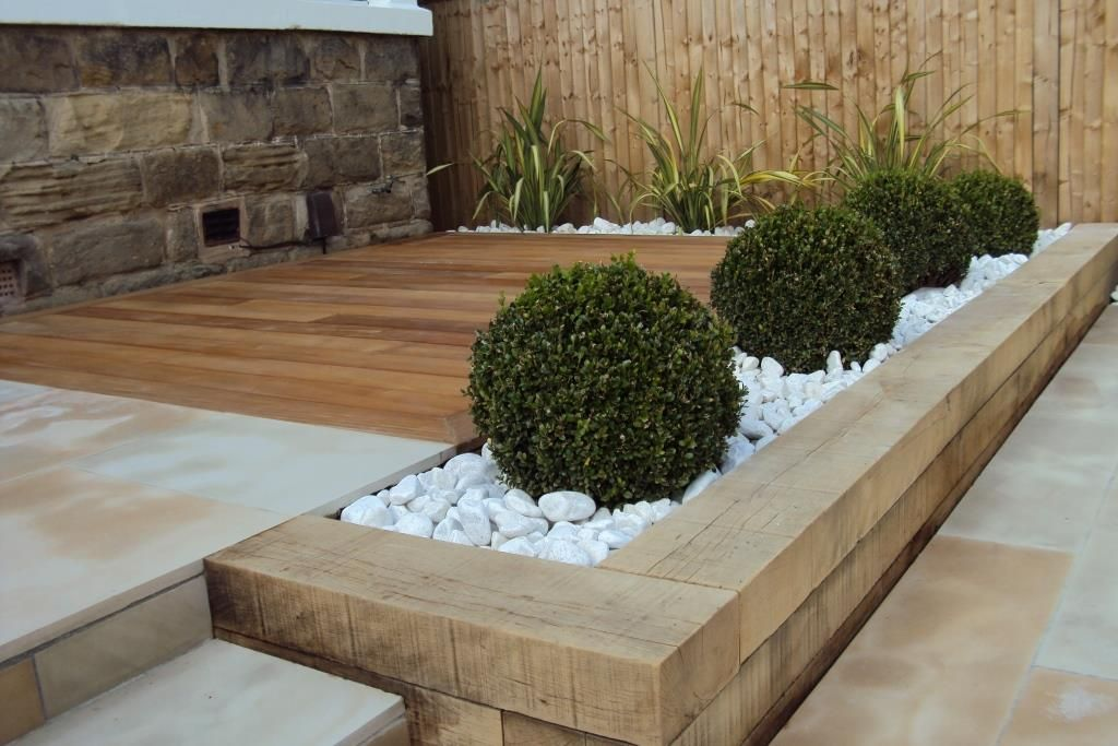 Raised Sleeper Beds Back Garden Design Garden Design Modern Garden