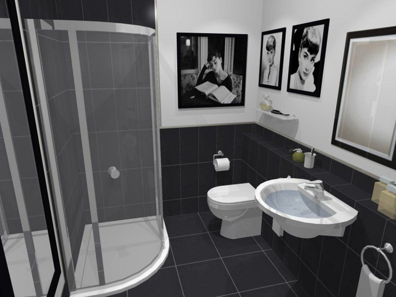 Luxury Bathrooms Black master bath redo - really like the floor/half wall black tile plus