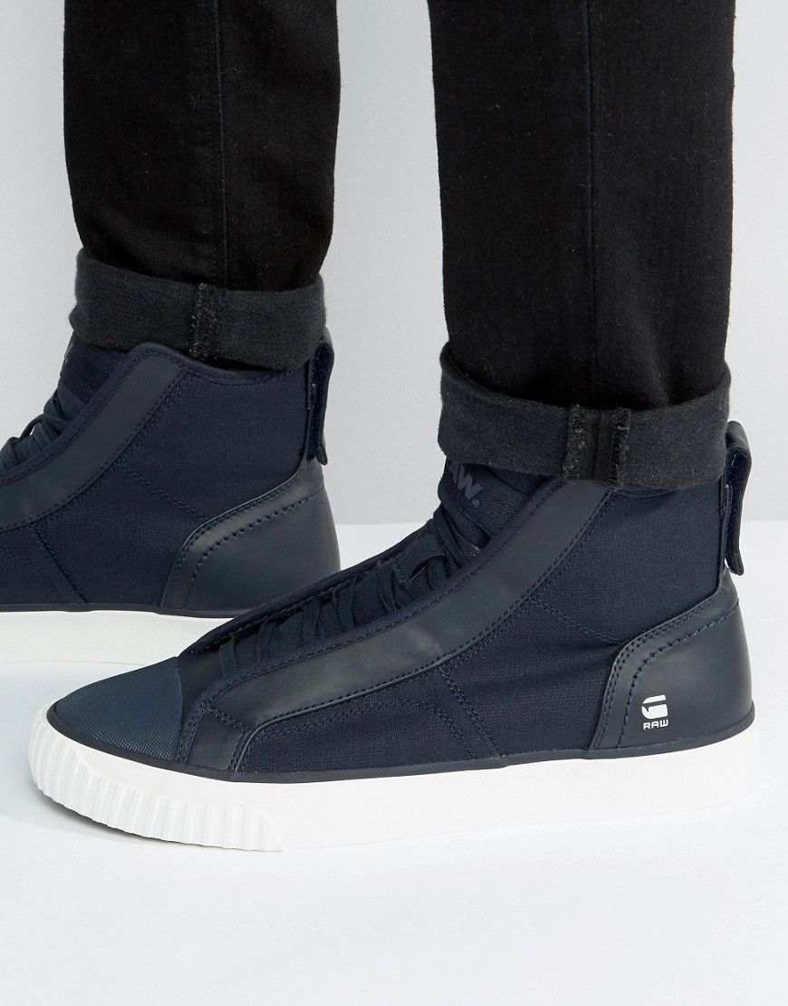 Shop G-Star Scuba Hi Top Denim Sneakers at ASOS.