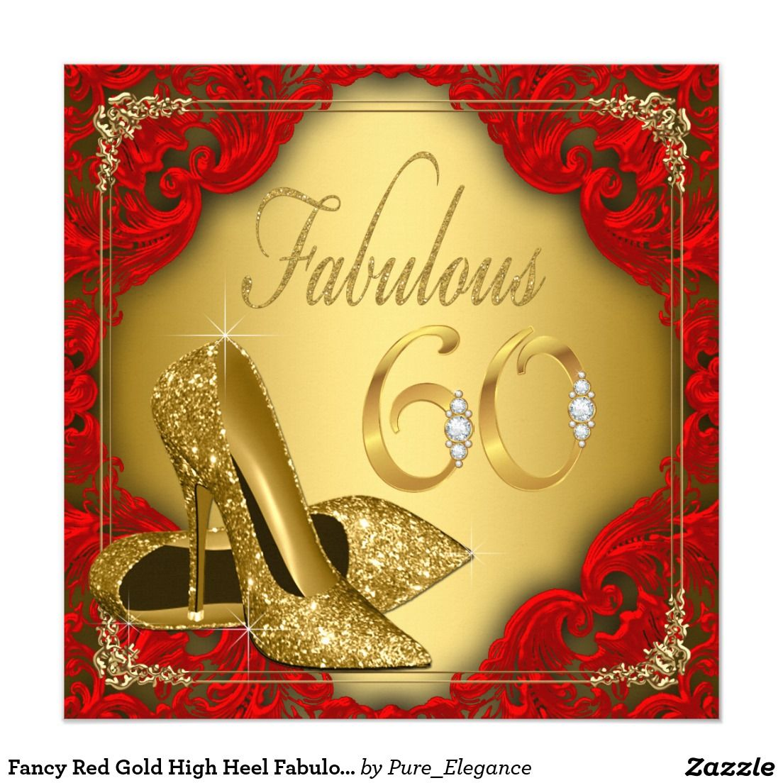 Fancy Red Gold High Heel Fabulous 60th Birthday Card | 60th birthday ...