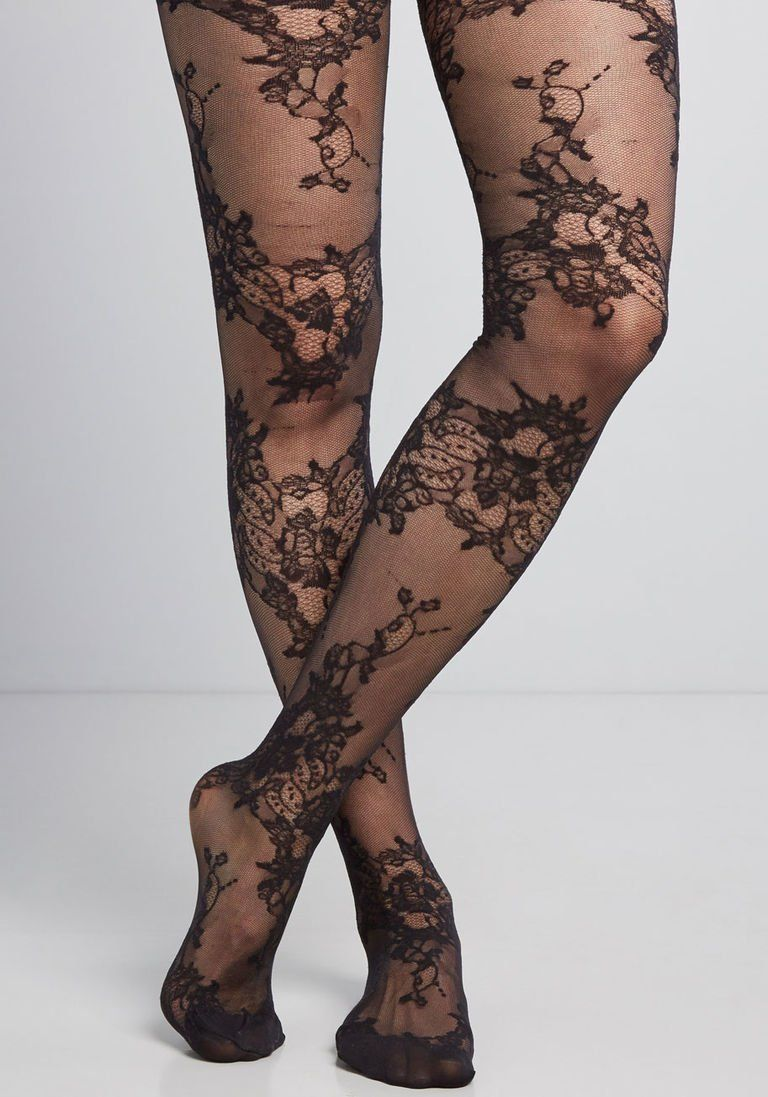 Sheer Spandex Flower Jacquard French Cut Pantyhose Costume Accessory 2 COLORS