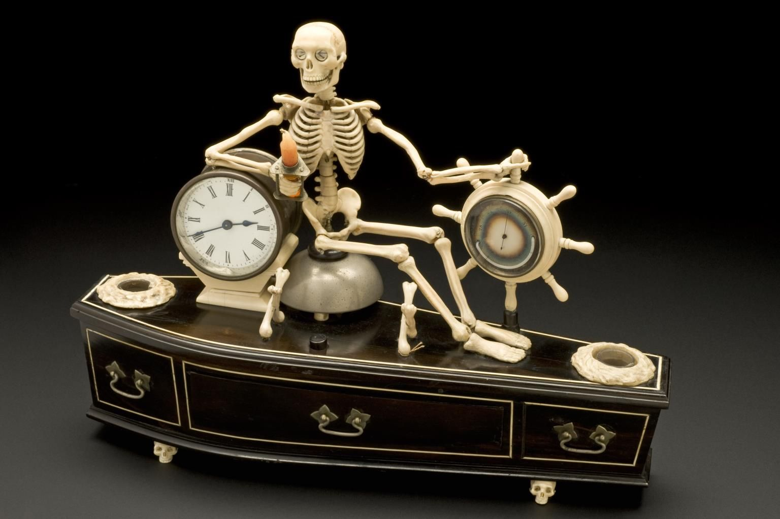 Alarm clock, mounted on model of coffin, probably English