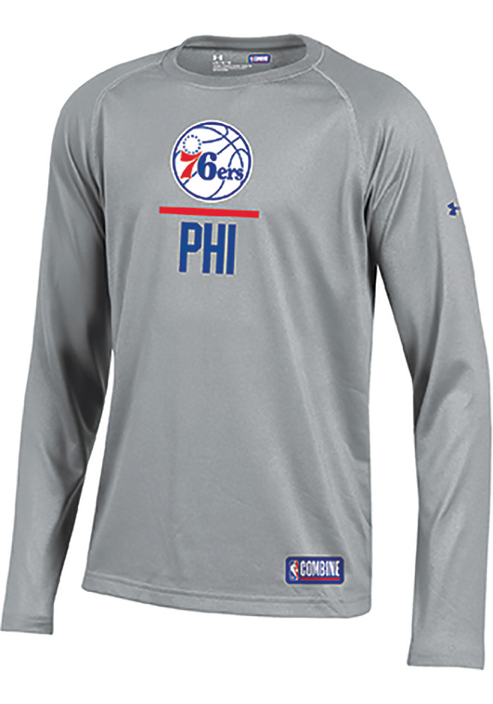 sale retailer cf18d a5d74 Under Armour Detroit Pistons Youth Grey Lockup Long Sleeve T ...