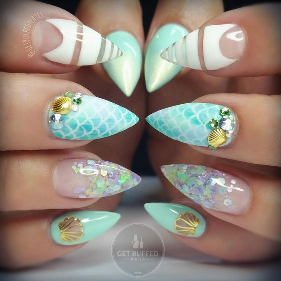 Mermaid Nails. Magical Designs - Mermaid Nails. 20+ Magical Designs Mermaid Nails, Nail Wedding And