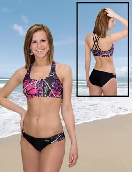fac0d6a9ba1ed Sports Top OMG! Camo swimsuits beach sports. Working out at the beach or  lake has never looked so good in the Muddy Girl Camo swimwear sport top.