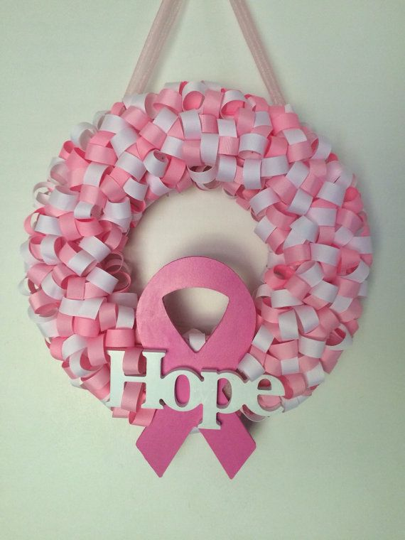 Breast Cancer wreath by Jublulations on Etsy