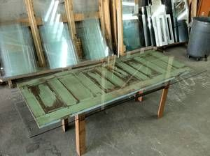 Glass Topped Dining Table Made From An Old Door