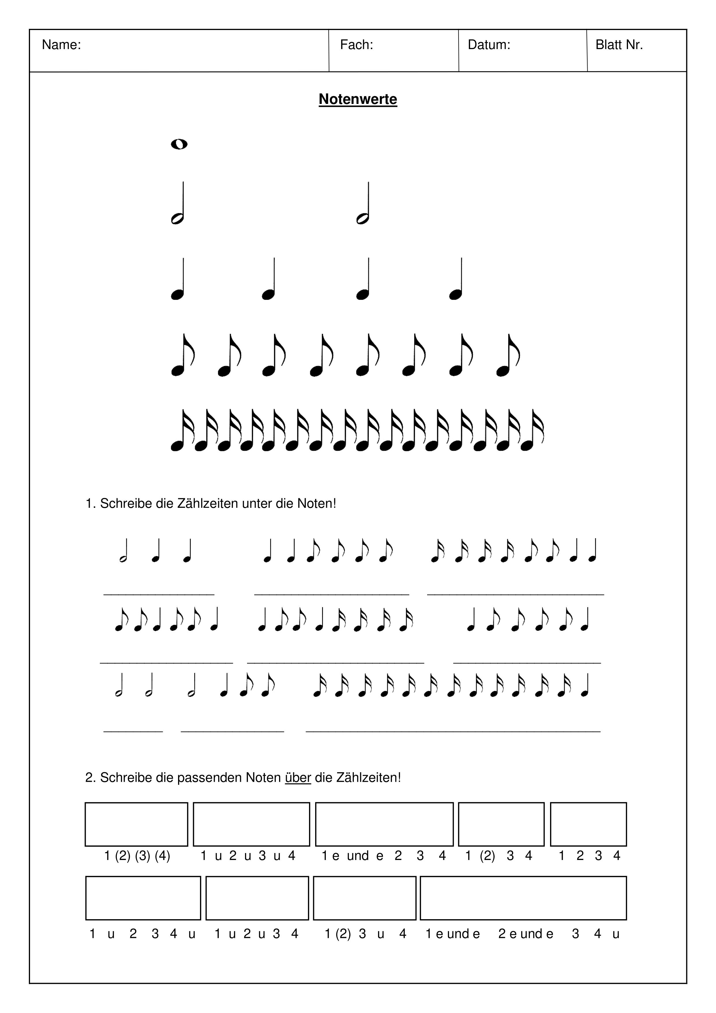 Notenwerte   Paket – Unterrichtsmaterial im Fach Musik ...