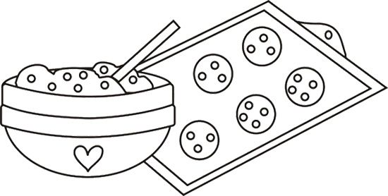 Cookie Dough In Mixing Bowl Coloring Page Cookie Decorating Party Coloring Pages Cookie Dough