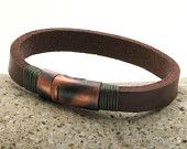 FREE SHIPPING. Mens bracelet. Mens leather bracelet. Brown leather bracelet. Flat leather bracelet with copper plated clasp.