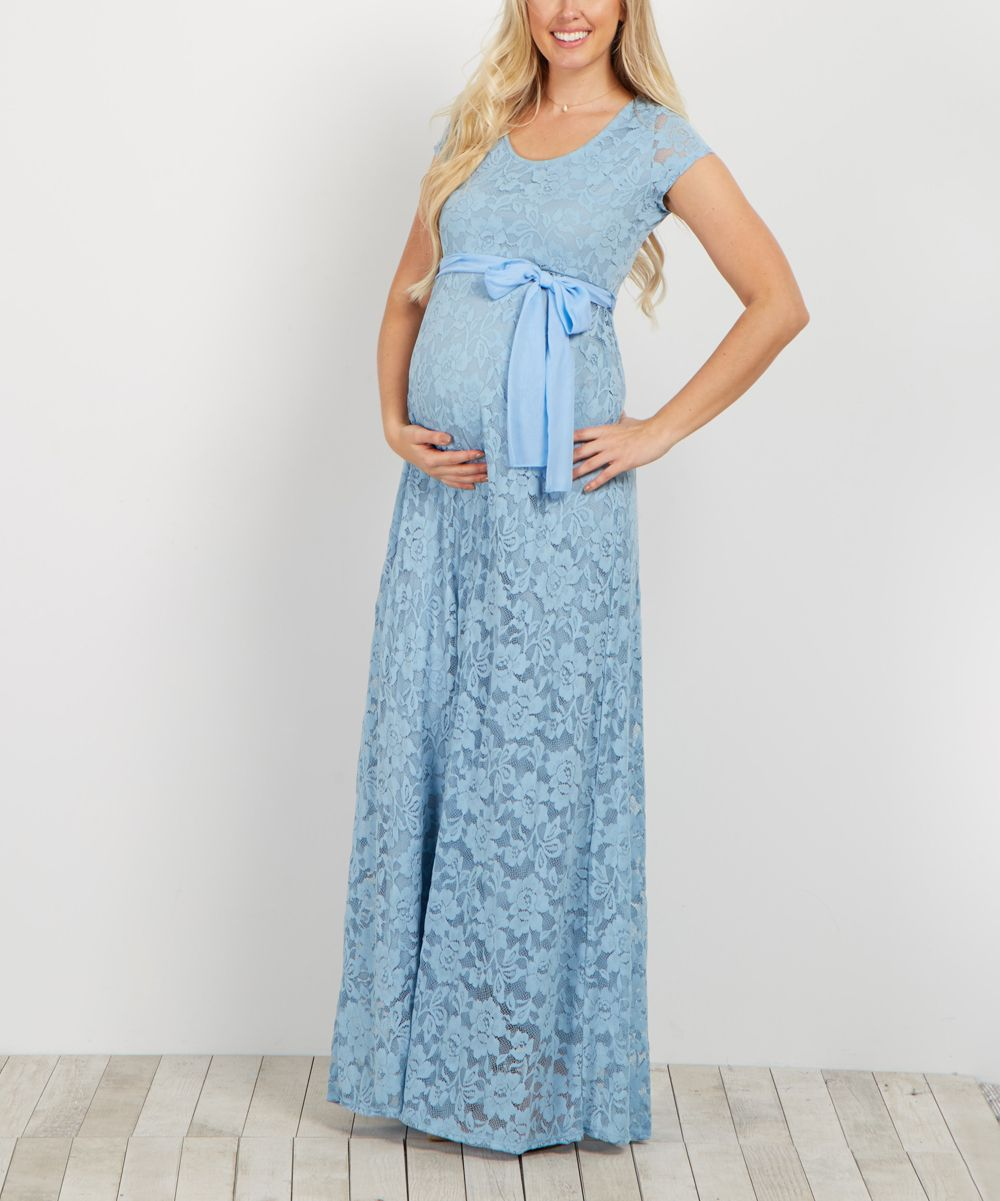 Pinkblush Blue Lace Overlay Sash Tie Maternity Gown Products