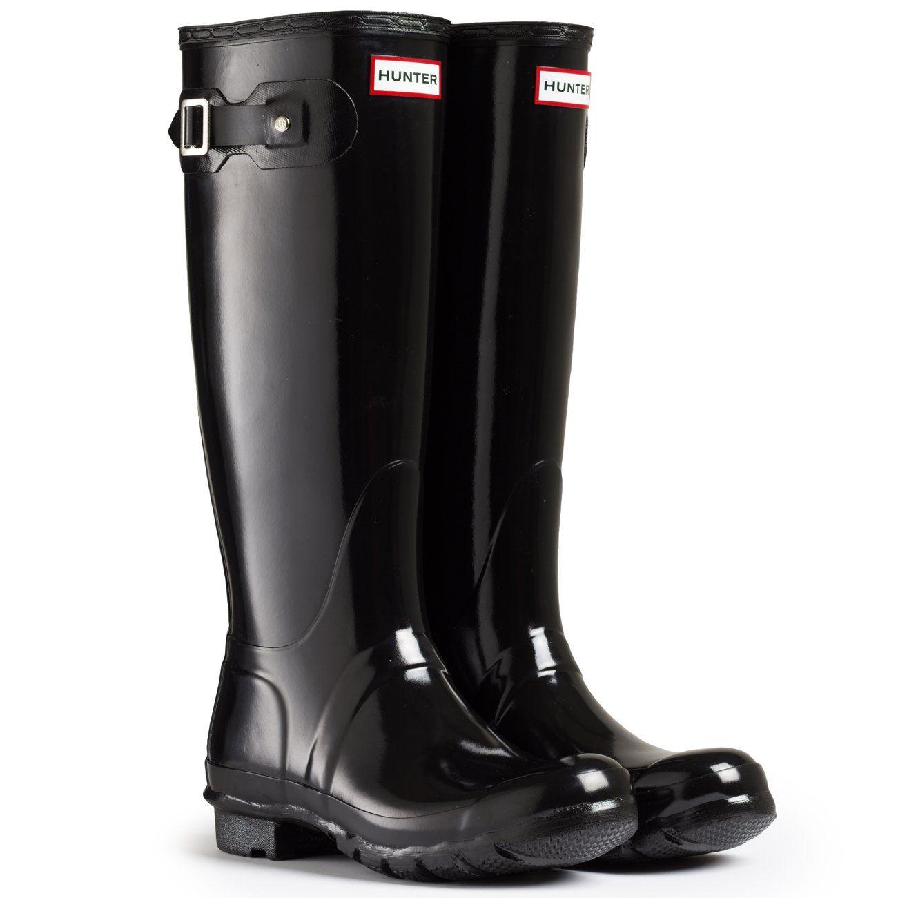Amazon.com: Womens Hunter Original Tall Gloss Rain Boots Winter Festival  Wellingtons: Shoes