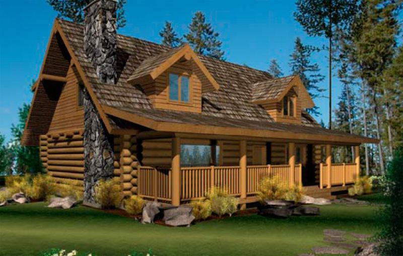 Log Home Plans With Wrap Around Porch Log Home Plan And House Design