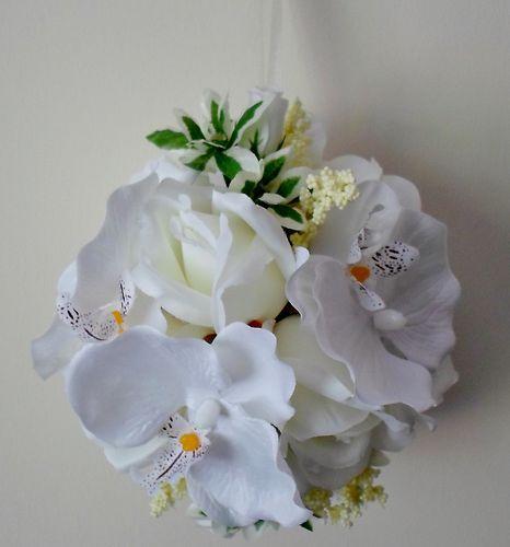 "Kissing Ball 6/""  Pomander Gardenia Rose Wedding Silk Flowers 00249880001  White"