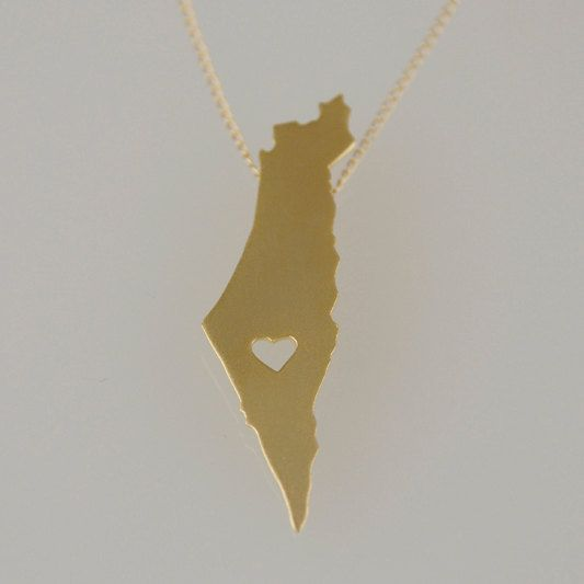 Gold Israel Map Necklace Judaica Necklace Israel Necklace Holy Land Necklace Love Israel Pendant Map Necklace Israel Jewelry