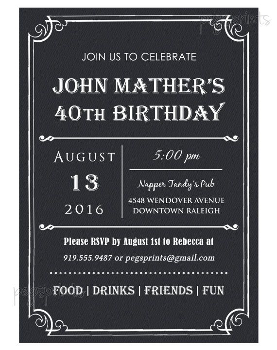 40th Birthday Invitation Men Milestone Printable By PegsPrints