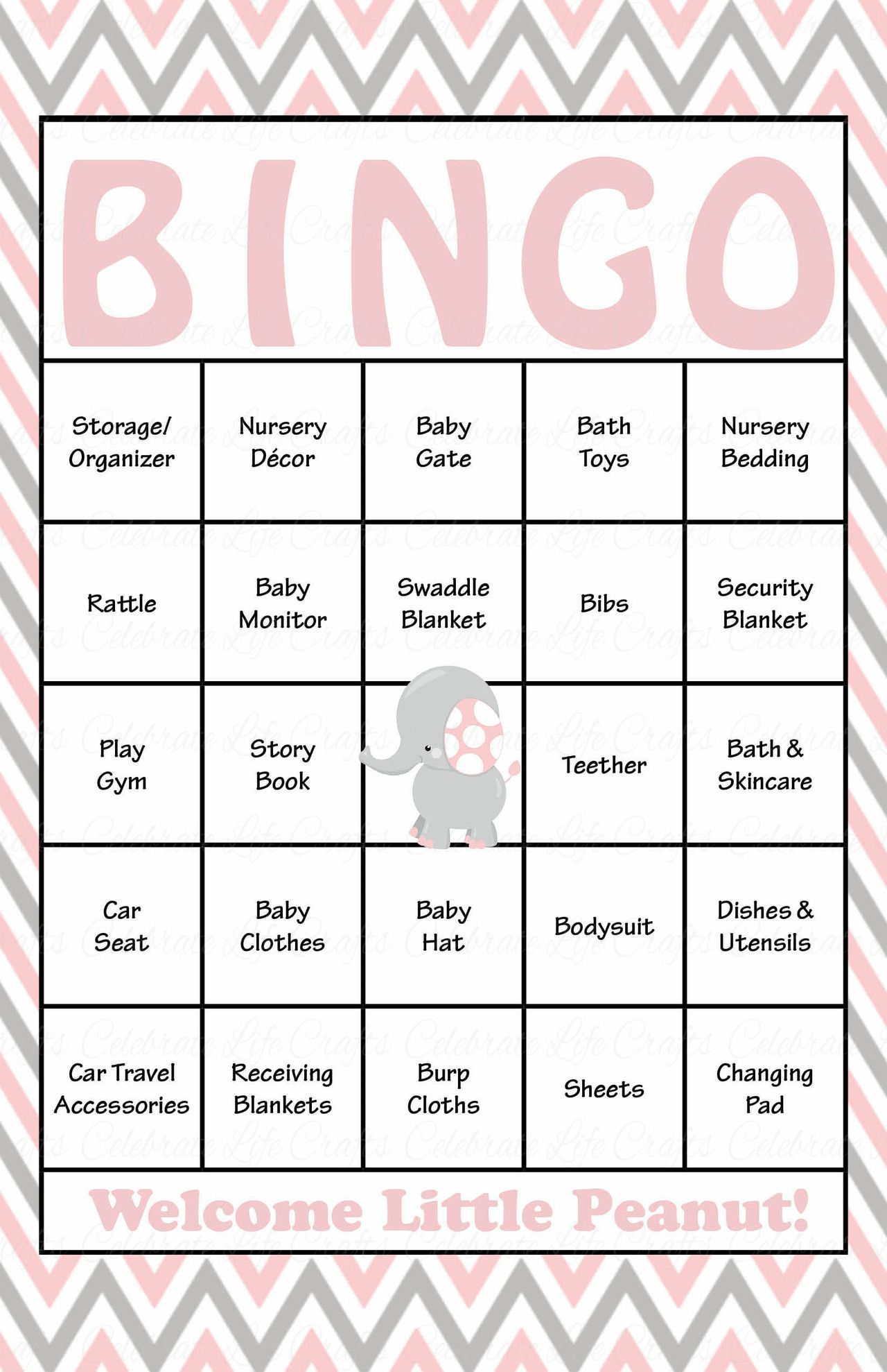 Elephant Baby Bingo Cards - Prefilled - Baby Shower Game for Girl - Pink  &