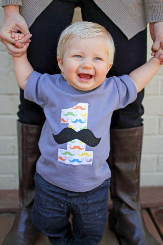 Little Man Mustache Birthday Party T Shirt Boys Tops 1st For Boy Pick Your Age Color