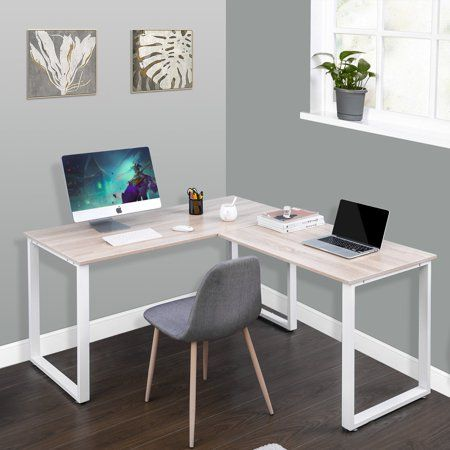 Merax 59 Inch L Shaped Desk With Metal Legs Office Corner Computer Pc Laptop Table Workstation