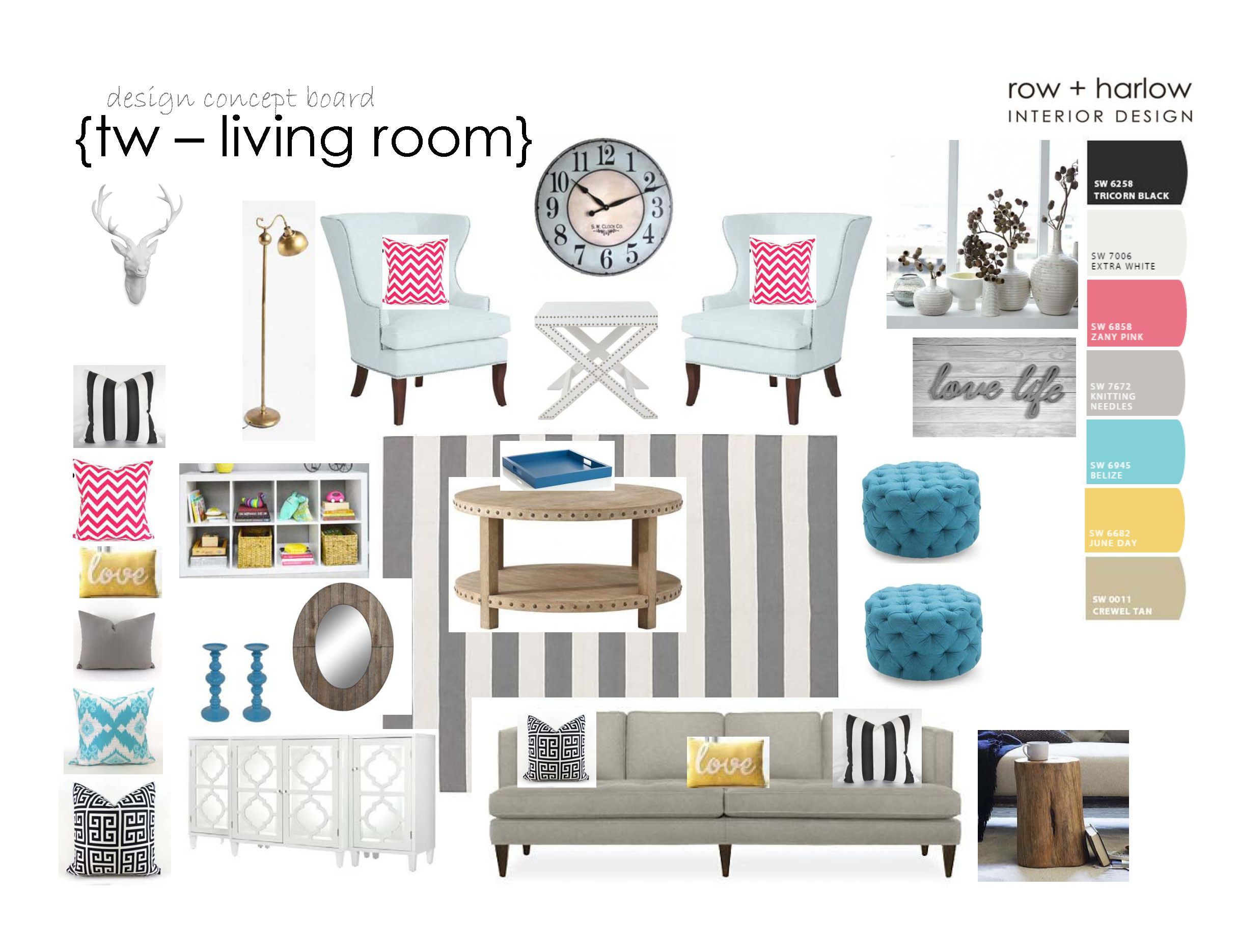 living room inspiration board - design objects | row + harlow ...