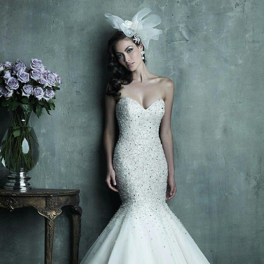Rhinestone wedding dresses  Strapless Sweetheart Beaded Bodice Mermaid Wedding Dress