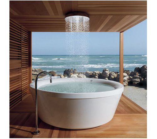Images Of Gorgeous Zucchetti Kos Geo freestanding bathtub in outdoor wooden bathroom with amazing ocean view Beautify Your Modern Bathroom Design With These