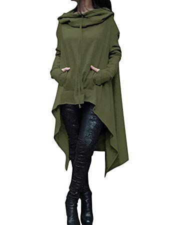 a793fbbcae ThusFar Women s Loose Solid Color Pullover Hoodie Irregular Hem Sweatshirts  Dress S-4XL