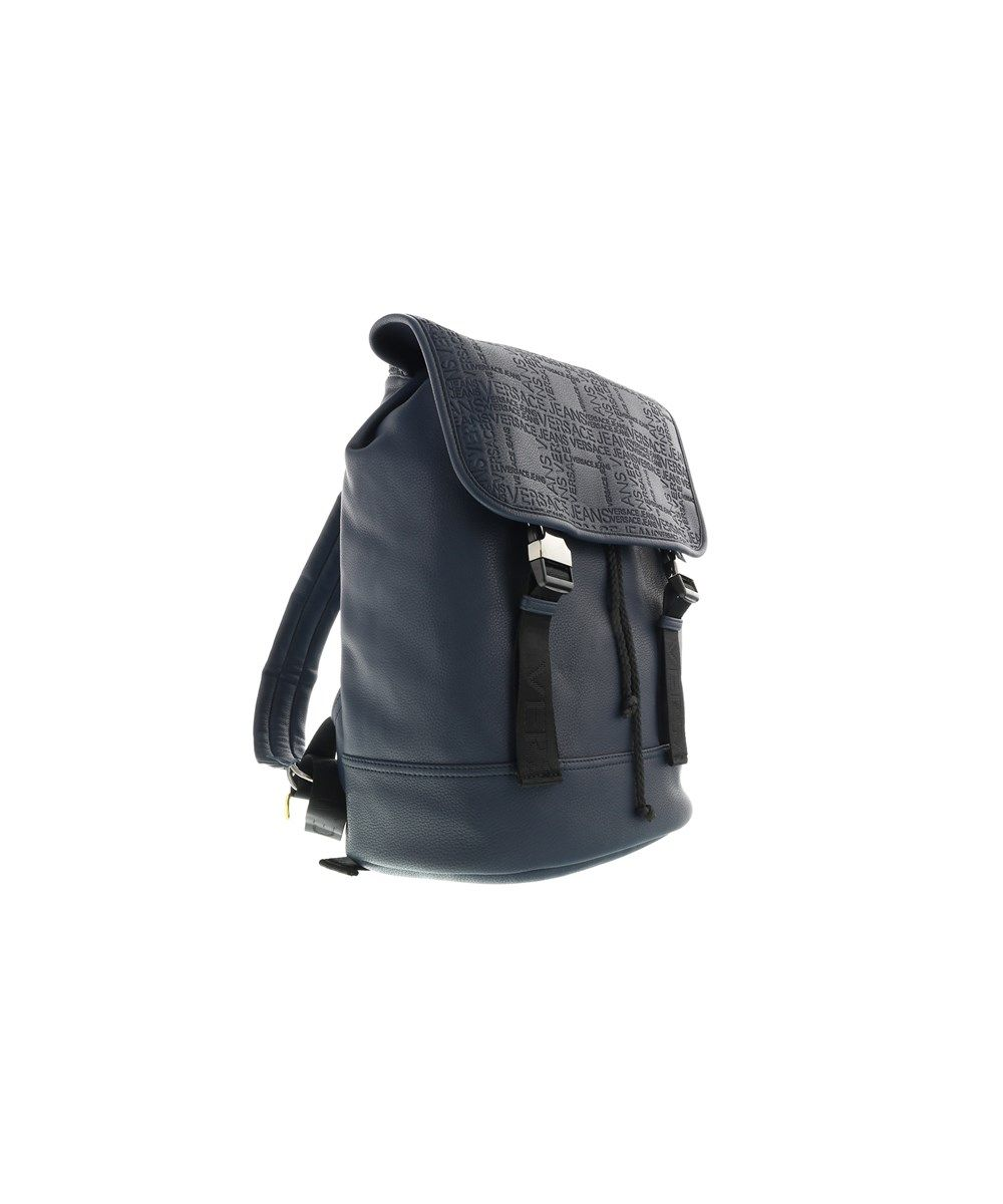 VERSACE Versace Ee1yobb21 E240 Navy Blue Canvas Print Mens Backpack.   versace  bags  denim  canvas  backpacks  polyester   4621872db9bb8