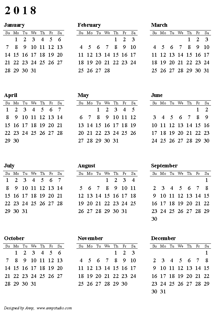 Year Calendar Starting : Printable calendar portrait paper orientation weeks