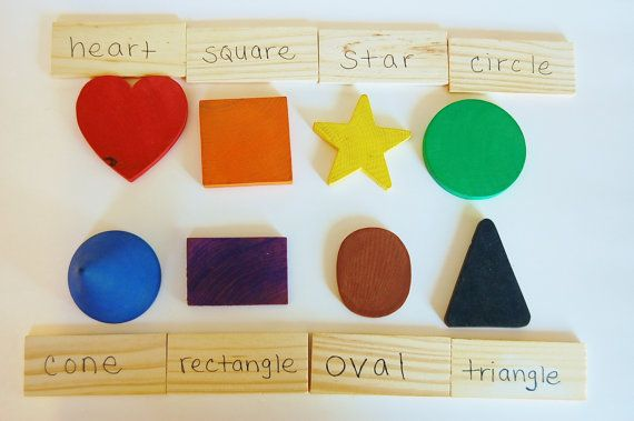 Wooden Toy SHAPES Game A  Color and Matching by applenamos on Etsy, $28.00