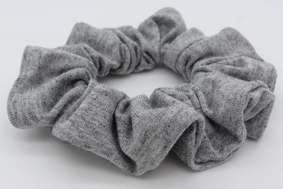 Hair scrunchy. Grey marl jersey scrunchy. Hair Scrunchie. Cotton jersey hair scrunchie. #hairscrunchie