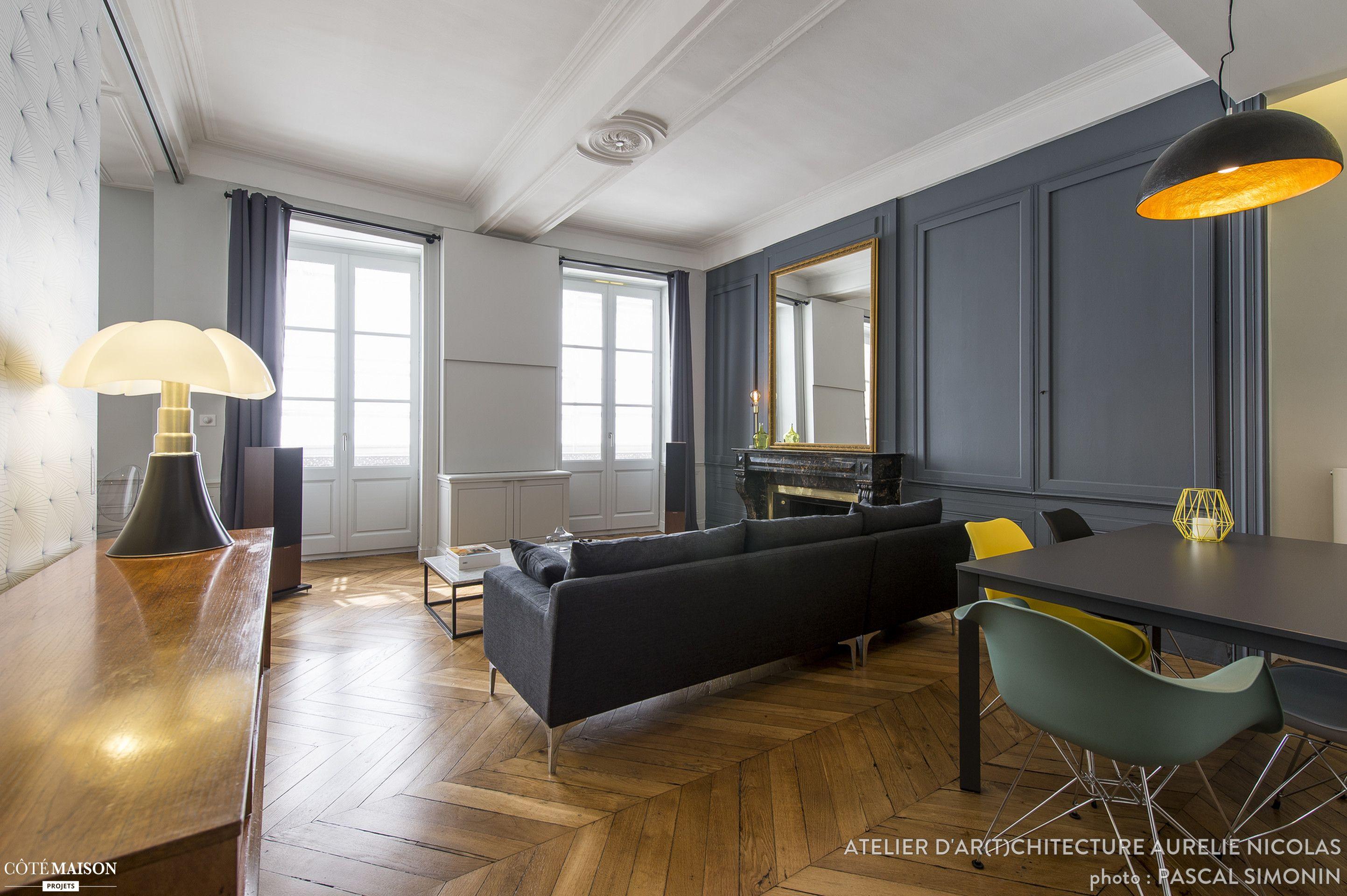 Cet appartement bourgeois au cur de Lyon a t totalement rnov dans un contraste marquant