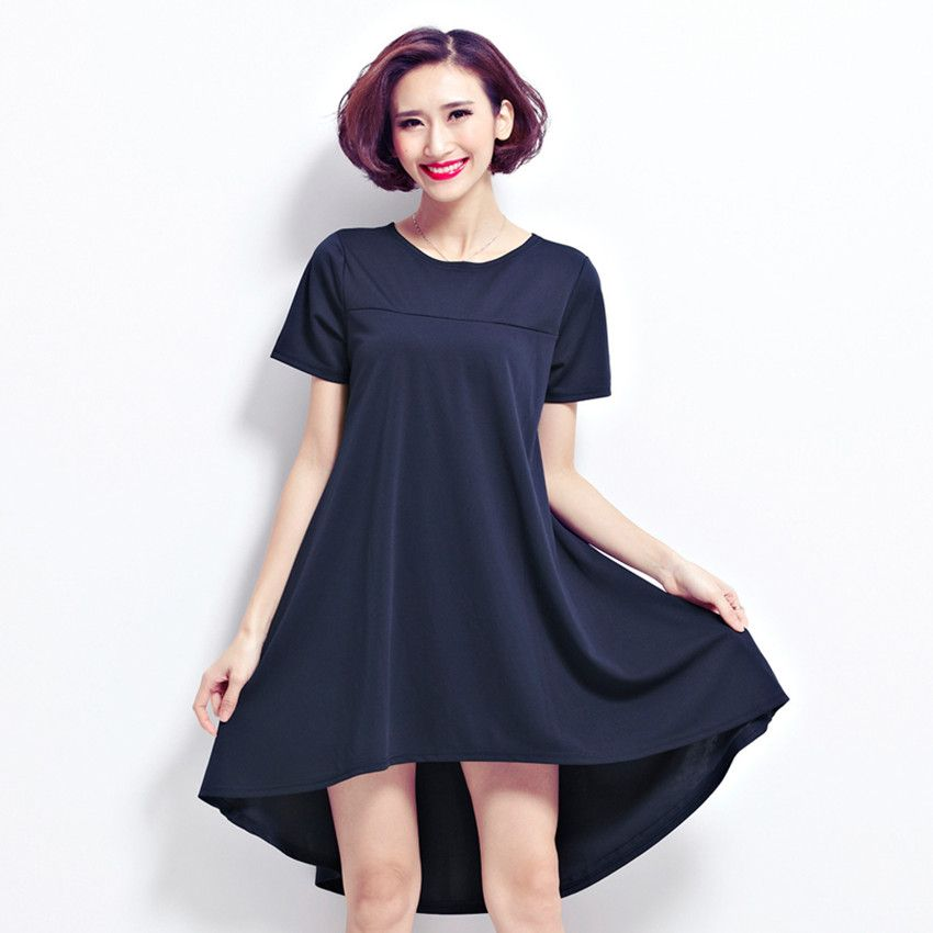 20fabe1c9df81 ... Back Long Summer Dress Short Sleeve Plus Size Casual Dress Vestidos  Feminino